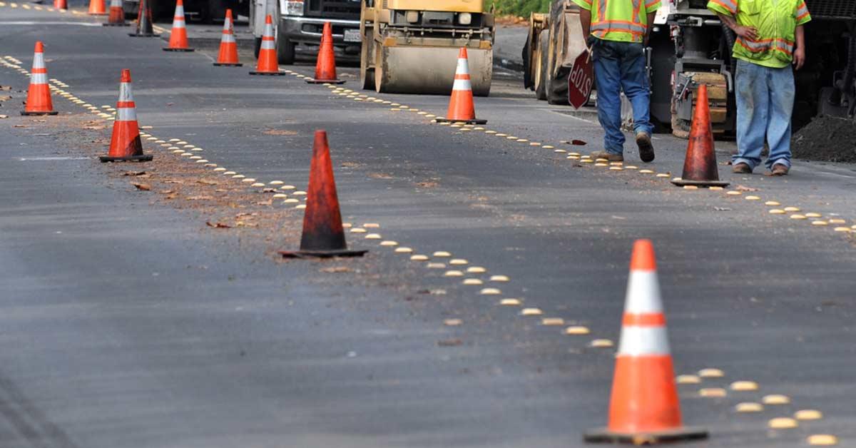 Construction cones in construction zones