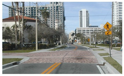 raised intersection pedestrian safety city intersection engineering tips