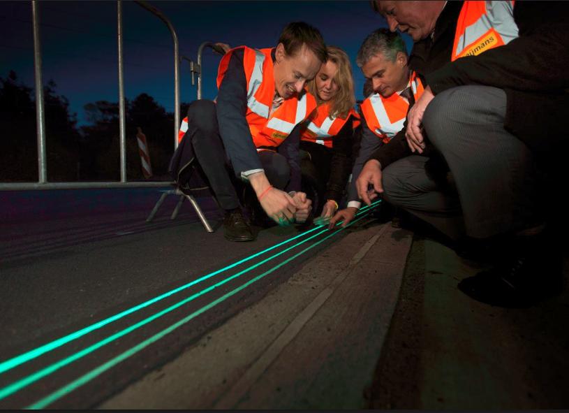 glowing lines smart highway designs