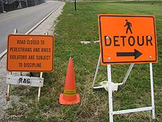 using safety cones to detour pedestrians