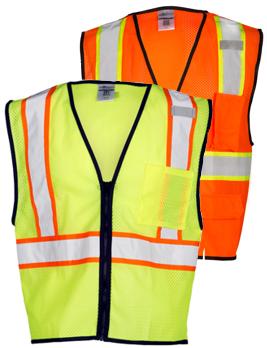 Medium Safety Depot Class 2 Ansi Safety Vest Zipper with Pockets High Visibility Reflective Orange A520