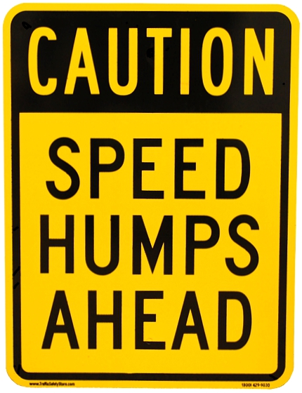 Caution Speed Humps Ahead Sign